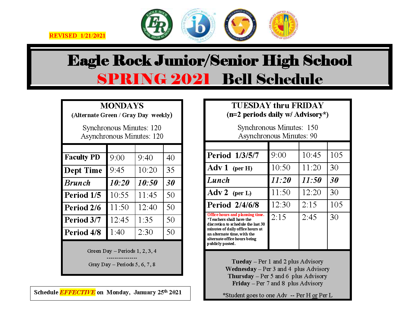 Lausd Calendar 2022 To 2023.Bell Schedule Eagle Rock Jr Sr High School