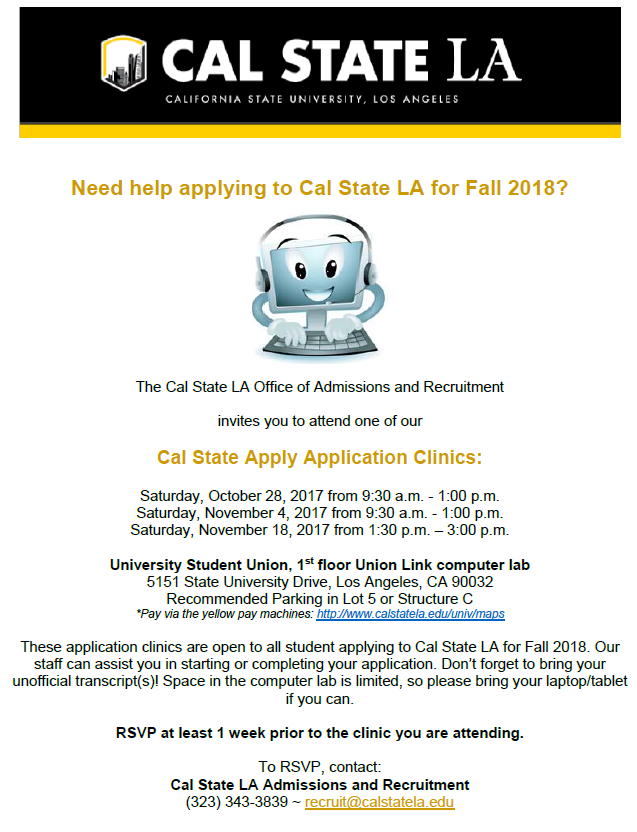 Cal State Apply Application Clinics Fall 2018