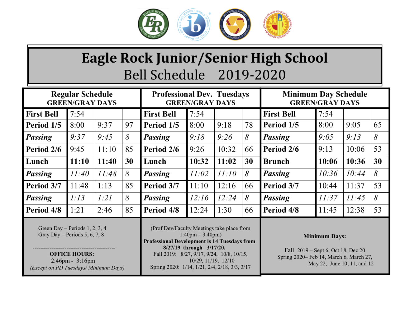 Bell Schedule | Eagle Rock Jr /Sr  High School